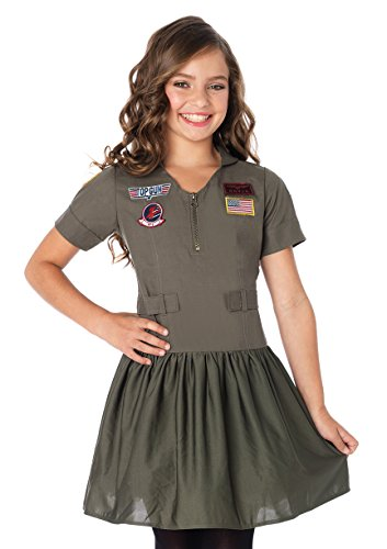 Leg Avenue Little Girl's Top Gun Girls Flight Dress wpatches Adult Costume, Khaki, Medium ()