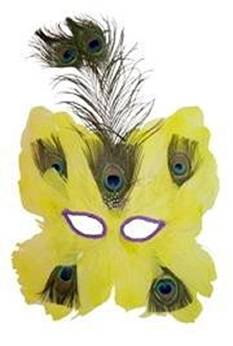 (Mardi Gras Yellow Feather Mask W/Peacock Feathers And Sequin Eye Trim, 11