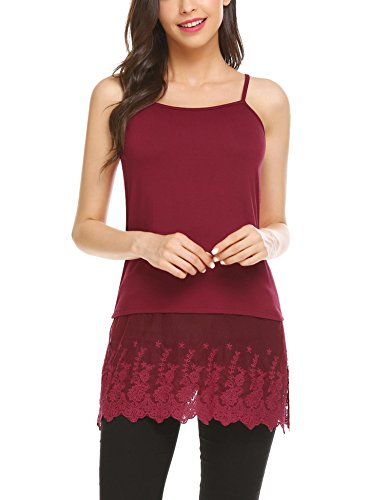 Camisole Strap Spaghetti Lace (Grabsa Women's Lace Extender Camisole Tunic Tank Round Neck Slip Spaghetti Cami Tank Top Wine Red 1 Large)