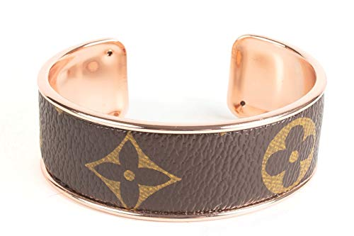 - Handmade Cuff Bracelet with Re-purposed Designer Canvas 3/4