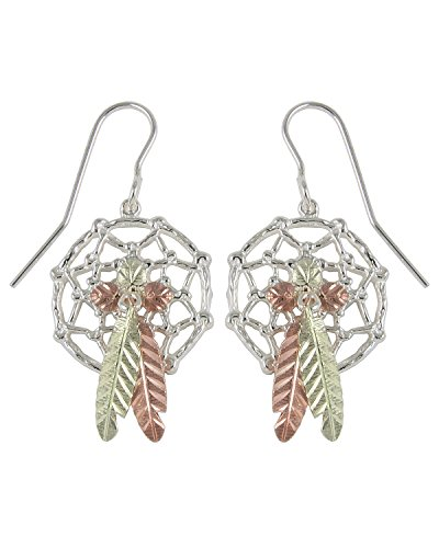 Fancy Dream catcher Earrings, Sterling Silver, 12k Green and Rose Gold Black Hills Gold Motif by Black Hills Gold Jewelry