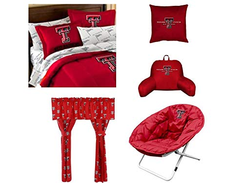 (NCAA Texas Tech 15pc Full Size Bedroom Set - Includes comforter, 2 shams, flat sheet, fitted sheet, 2 pillowcases, toss pillow, bedrest, sphere chair, 2 curtain panels with tie backs and valance)