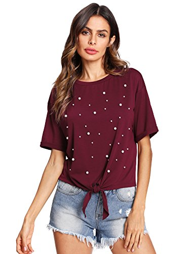 Romwe Women's Pearl Beaded Short Sleeve Tie Front Knot Casual Loose Fit Tee T-Shirt