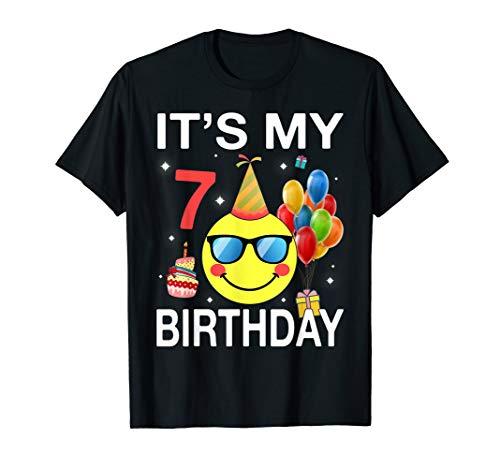 Kids Emoji It's My 7th Birthday T-Shirt Fun 7 Years Old Gift