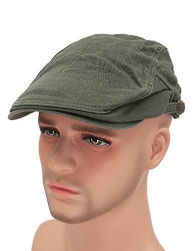 Roffatide Solid Color Canvas Strap Newsboy Cap Driving Cabby Ivy Golf Beret Hat Army (Newsboy Bag)