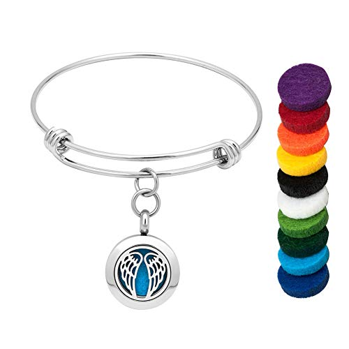 LoEnMe Jewelry Aromatherapy Essential Oil Diffuser Bracelet Angel Wing Bangle for Love