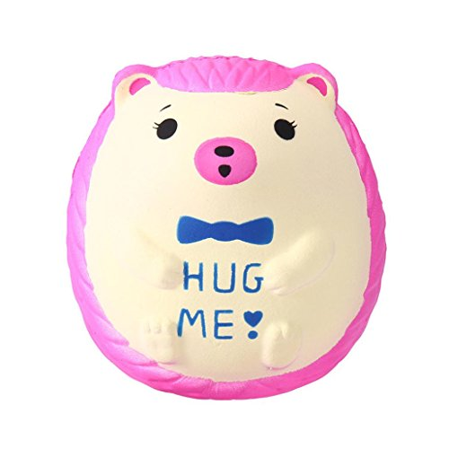 Livoty Squishy Slow Rising Toys Cute Hedgehog Scented Charm Squeeze Stress Reliever Toy (Hot Pink)