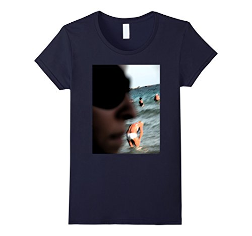 Women's Under My nose - Original Art T-shirt-Funny-Sea-Water Large Navy