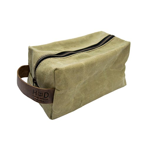 Travel Square Dopp Kit for Toiletries Handmade by Hide Drink Waxed Canvas