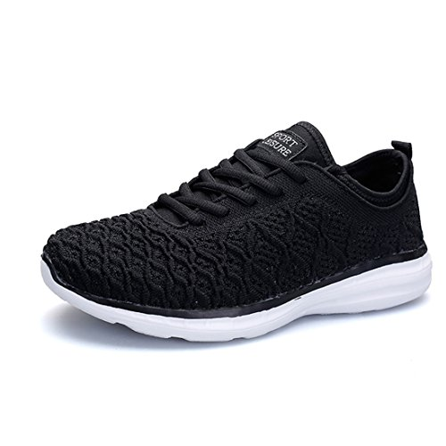 HQUEC Womens Lightweight Casual Sneakers Breathable Knitted Athletic Walking Running Sport Shoes Black 10.5US