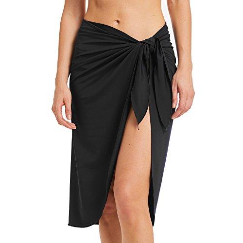 5e7daf88d0 Sythyee Women's Sarong Wrap Beach Swimwear Nylon Cover Up Pareo Bikini  Swimsuit Wrap Skirt Bathing Suit Nylon Long Black