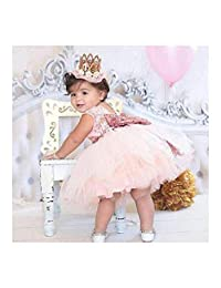 FidgetKute Baby Girl Lace Dresses Bow Sequins Tulle Party Gown