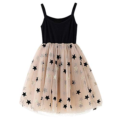NNJXD Little Girl Summer Sleeveless Princess Dress,Infant Toddler Princess Party Tulle Sundress 6-7 Years Tulle-Black