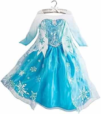 Buy Home Frozen Queen Elsa Snow Snowflake Dress Girls Costume Cosplay