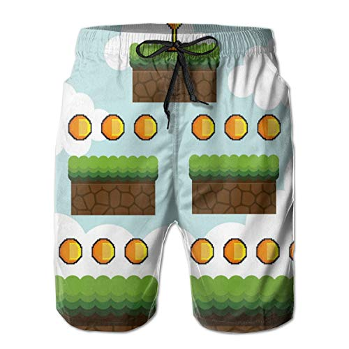 (Men Swim Trunks Beach Shorts,Cartoon Pixel Game Interface Trophy Dots Level Up Jump Score Red Hearts Clouds L)