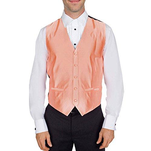 Buy Your Ties VST-C-ADF-48-XS-1 - Mens Solid Satin Tuxedo Vest Peach ()
