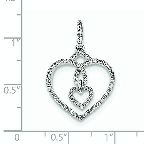 Or blanc 14 carats Diamant Coeur-Collier Pendentif JewelryWeb