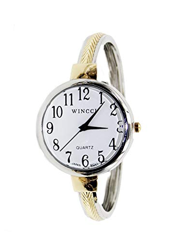 - Women's Classic Easy Read Large Size Bangle Cuff Watch- (Two Tone)