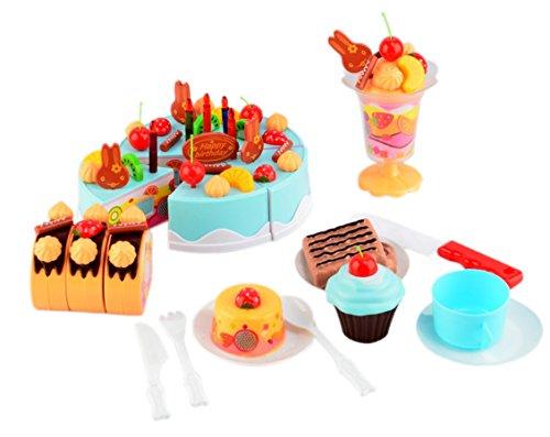 Play Cakes - PowerTRC Birthday Cake 75pcs Pretend Play Food Toy Set Blue