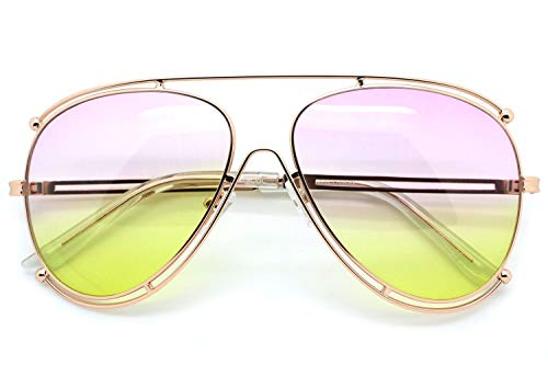 (Violet Yellow Designer Inspired Double Wire Large Sunglasses Metal Frame Women)