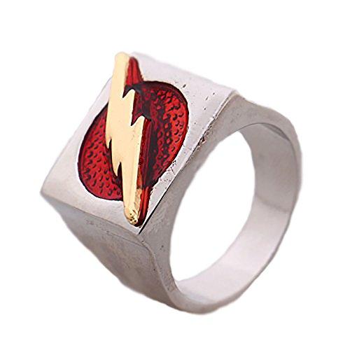 Kiaka LLC The Flash Superhero Ring Size 8 red Barry Allen Costume Accessory Justice League ()