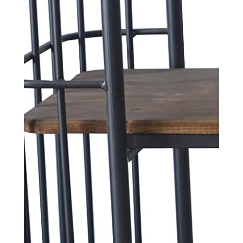 Herrera 41.73'' Bookcase in Dark Gray with Casters, Shaped Tubular Steel Frame And Three Solid Wood Shelves, by Artum Hill by Artum Hill (Image #4)