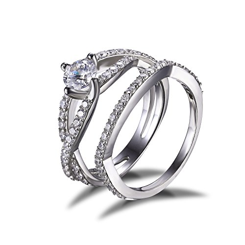 1.3ct Infinity Cubic Zirconia Solid 925 Sterling Silver Engagement Wedding Ring Band Bridal Set Size 7