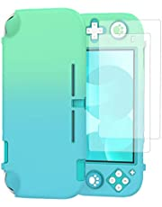 TiMOVO Case Compatible with Nintendo Switch Lite with 2 Screen Protectors & 4 Joystick Caps, Switch Lite Shock-Proof Protective Case Cover Accessories, Blue + Green