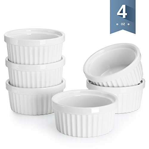 Souffle Dish Individual (Sweese 5107 Porcelain Souffle Dishes, Ramekins - 4 Ounce for Souffle, Creme Brulee and Dipping Sauces - Set of 6, White)