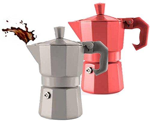 aromatic TxT BRANDANI cafetera express aluminio 1 taza roja 11,5 x ...