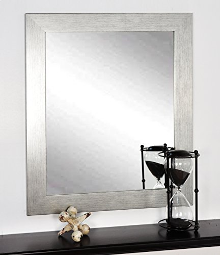BrandtWorks Stainless Grain Wall Mirror, 32 x 36 , Flat Brushed Silver
