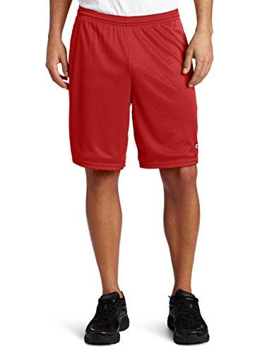 Champion Mens Long Mesh Shorts with Pockets, S162, 3XL, Champion Scarlet