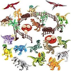 Winrase DIY Dinosaur Building Blocks Toys Set - 16pcs Buildable Jurassic Predator Herbivore Dinosaur Building Blocks Figures with Movable Jaws and 23pcs Dinosaur Scene Configuration Park