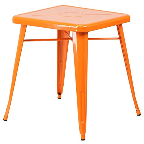 Single Piece Square Metal Orange Dining Table, Contemporary Style,Solid Black Finish, Assembly Required, Retro-Modern Look, Versatile Cafe Table, Engraved Designer Print,Commercial & Residential Use