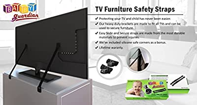 All Metal TV Furniture Anti Tip Heavy Duty Safety Straps Hardware and Screws Included by Baby Guardian that we recomend individually.