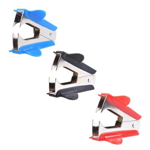 Cosmos¨ 3 PCS Extra Wide Steel Jaws Style Staple Remover (Black, Red, Blue)