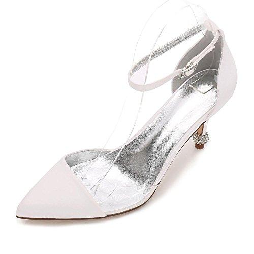 L@YC Zapatos de Mujer Satén Primavera Verano Bomba Zapatos de Boda Fiesta de Boda y Noche Púrpura Plata F17767-20 Ivory