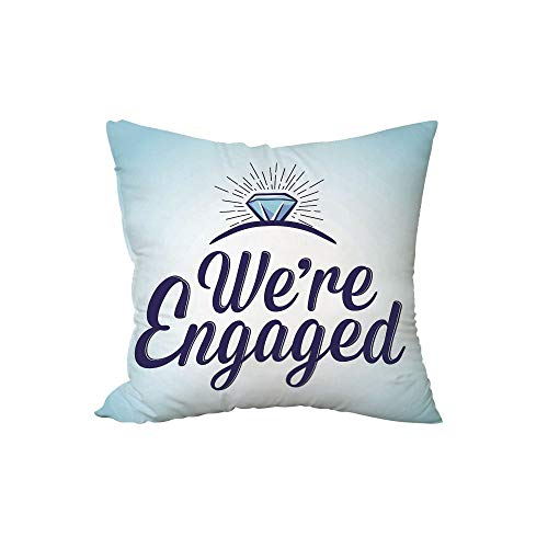 iPrint Polyester Throw Pillow Cushion,Engagement Party Decorations,We are Engaged Announcement Quote Wedding Ring,Sky Blue and Navy Blue,17.7x17.7Inches,for Sofa Bedroom Car Decorate ()