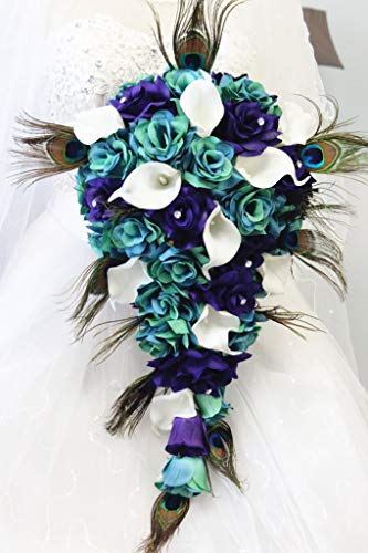 Angel Isabella Large Cascade Bouquet-Jade Teal with Eggplant Roses,Real Touch Calla Lily,Peacock Feather