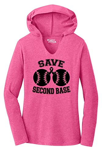 Ladies Hoodie Shirt Save Second Base Cute Breast Cancer Awareness Shirt Fuchsia Frost L