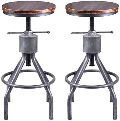 LOKKHAN Vintage Industrial Bar Stool-Height Adjustable Round Wood and Metal Swivel Bar Stool,Cast Iron Pub Height Stool,Assembly Not Required,23.4-33 inch Set of 2