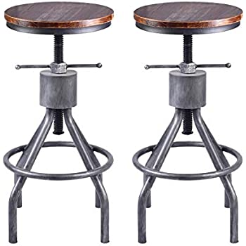 Amazon Com Lokkhan Vintage Industrial Bar Stool Height