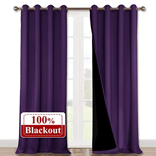 NICETOWN Heat Blocking 100% Blackout Curtains, Durable and Soft Black Lined Drapes for Living Room, Energy Saving Long Panels for Patio Sliding Glass Door, Royal Purple, 52 inches x 108 inches, 2 PCs