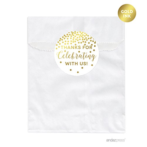 Andaz Press Metallic Gold Confetti Polka Dots Party Collection, Favor Bags, 24-Pack (Dot Favor Bags)