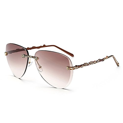 LOMOL Womens Trendy Metal Frame UV Protection Personality Drive Beach - Womens Sunglasses Face Fat