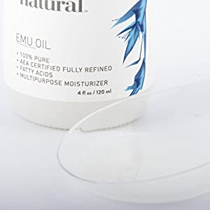 Emu Oil - AEA Certified Pure Moisturizer for Strengthened Hair, Stretch Marks, Scars, Joint & Muscle Pain - For Body, Skin, Eyes, Face & Nails - Essential Beauty Product - InstaNatural - 4 OZ