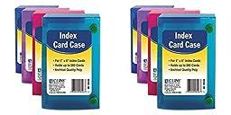 Index Card Case, Holds 200 4 x 6 Cards, Polypropylene, Assorted, 2 Packs