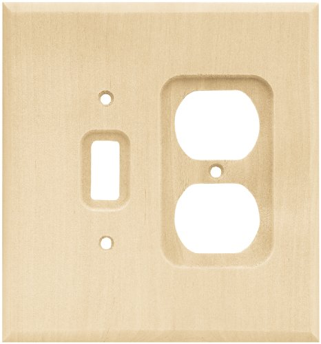 BRAINERD 64675 Wood Square Single Toggle Switch/Duplex Outlet Wall Plate / Switch Plate / Cover, Unfinished Wood