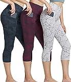 ATHLIO High Waist Yoga Pants with Pockets, Tummy Control Workout Leggings, Non See-Through Running Tights, Capri1 Pocket 3pack(ycp36) - Marble/Greycamo/Redcamo, Medium