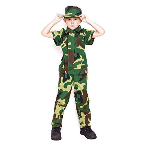 Kids Camo Camouflage Army Military Soilder Jumpsuit Halloween Costume - Forest-Short-S ()